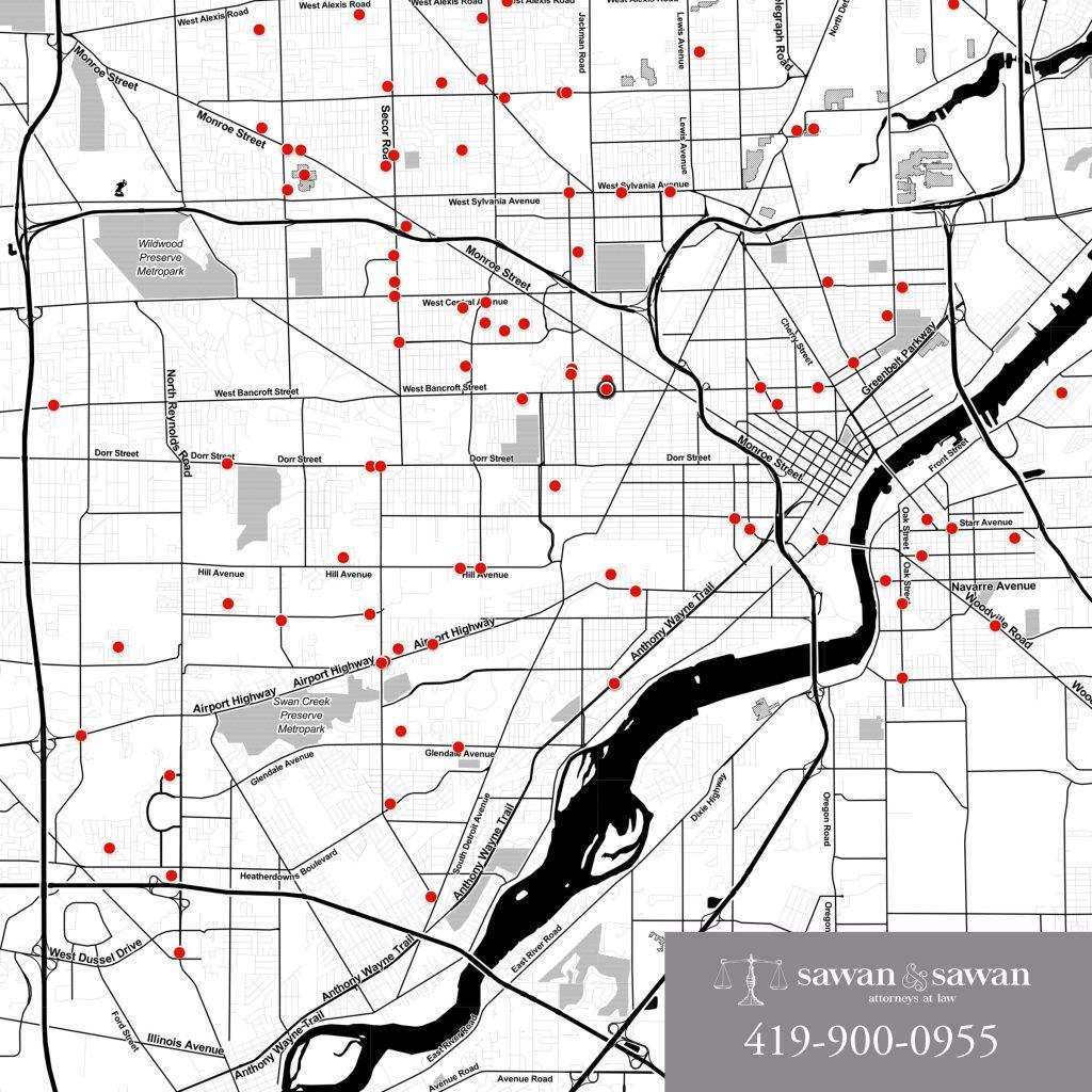 car accident map, Personal Injury Lawyers | Sawan & Sawan LLC | 419-900-0955