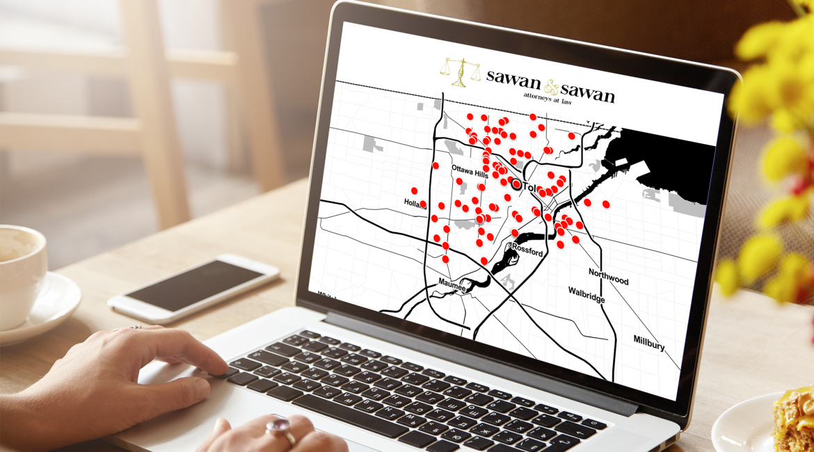 car accident map, Car Accidents in Toledo Ohio 2/23/20 – 2/29/20, Personal Injury Lawyers | Sawan & Sawan LLC | 419-900-0955
